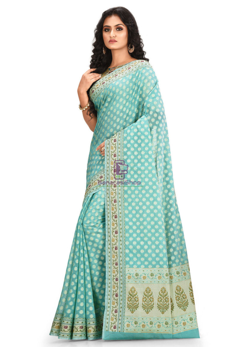 Woven Banarasi Cotton Silk Saree Light Teal Blue 2