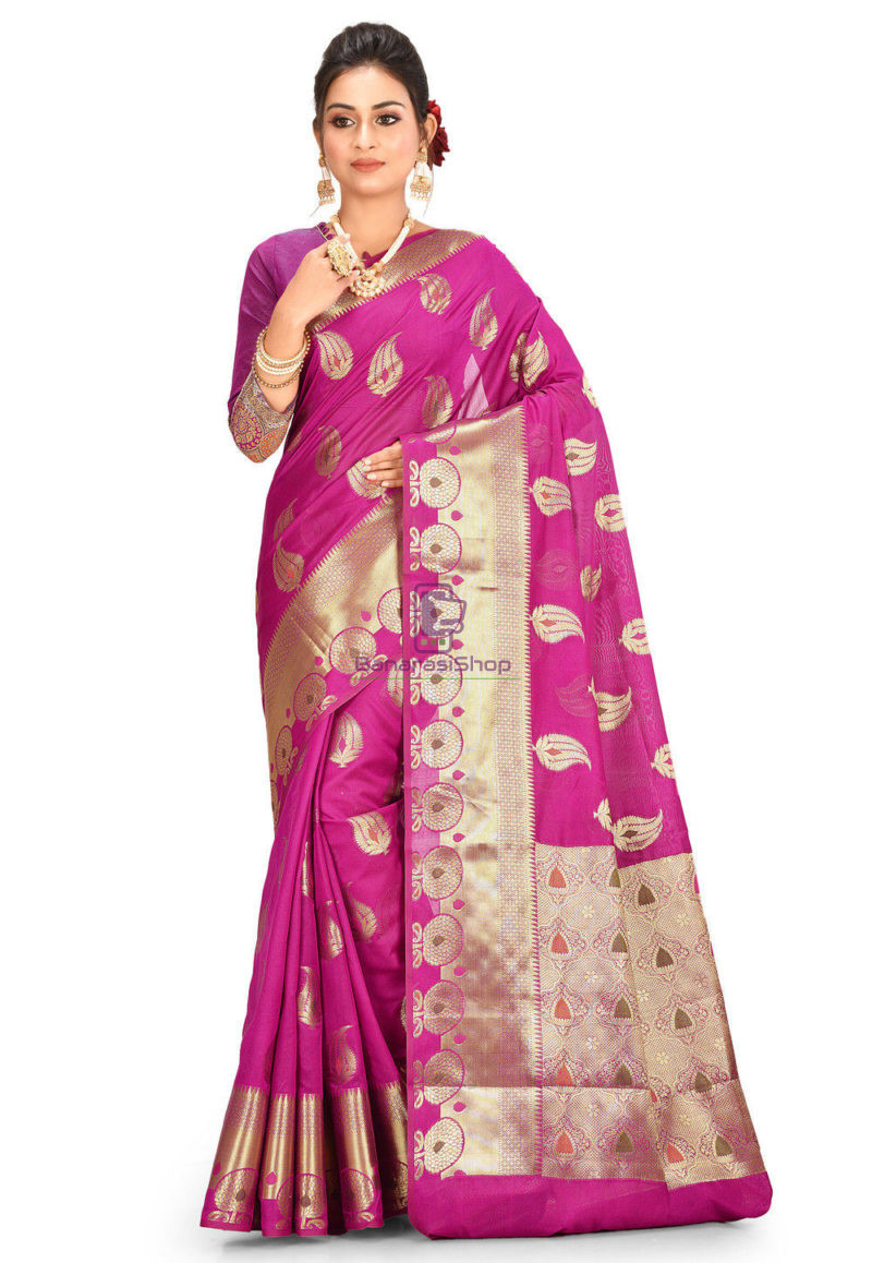 Woven Banarasi Cotton Silk Saree in Magenta 1