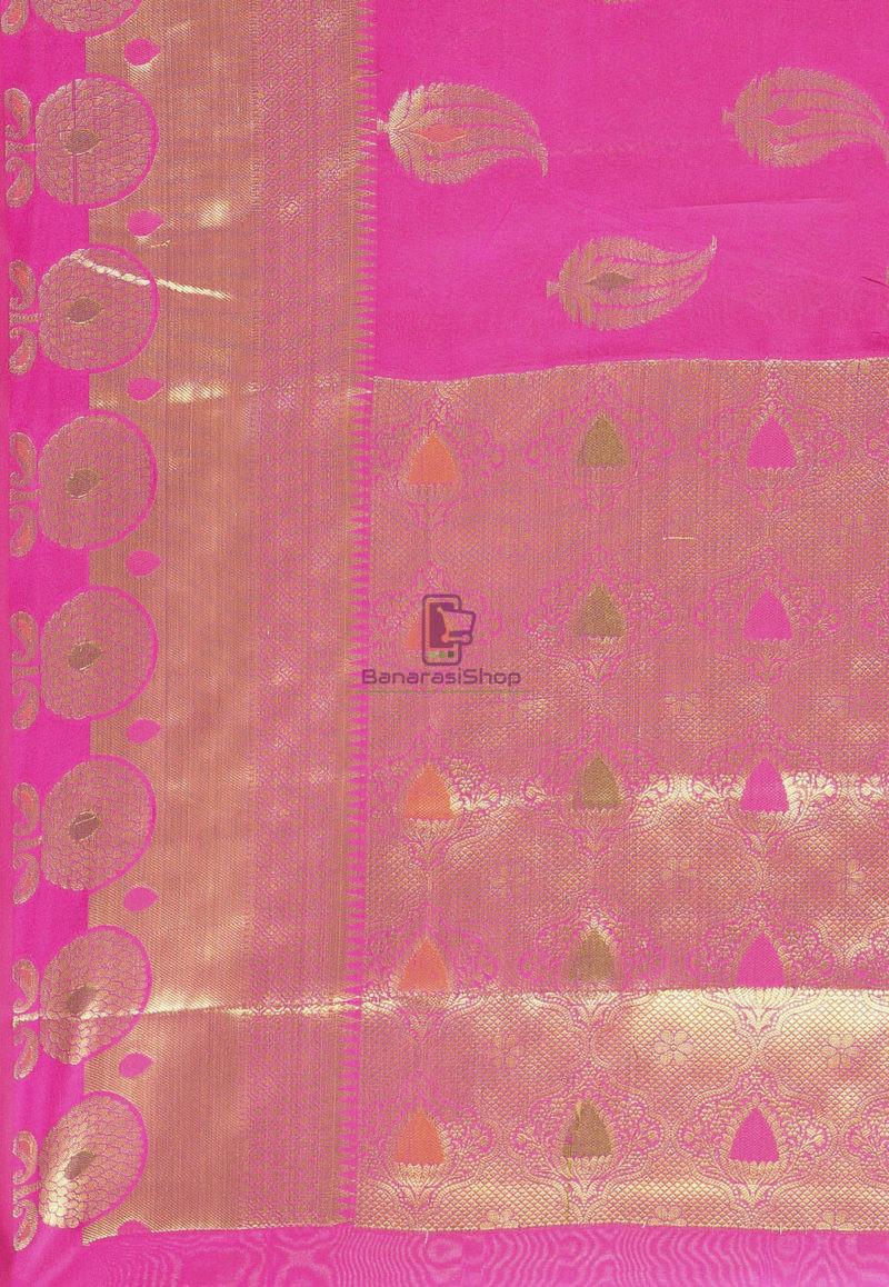 Woven Banarasi Cotton Silk Saree in Magenta 3