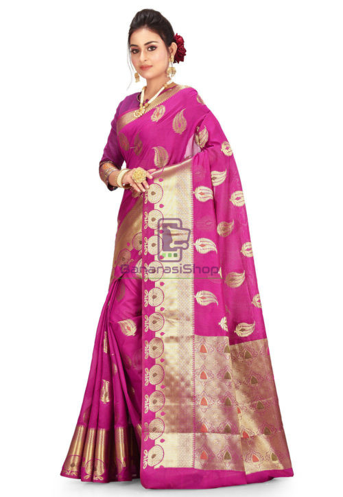 Woven Banarasi Cotton Silk Saree in Magenta 5