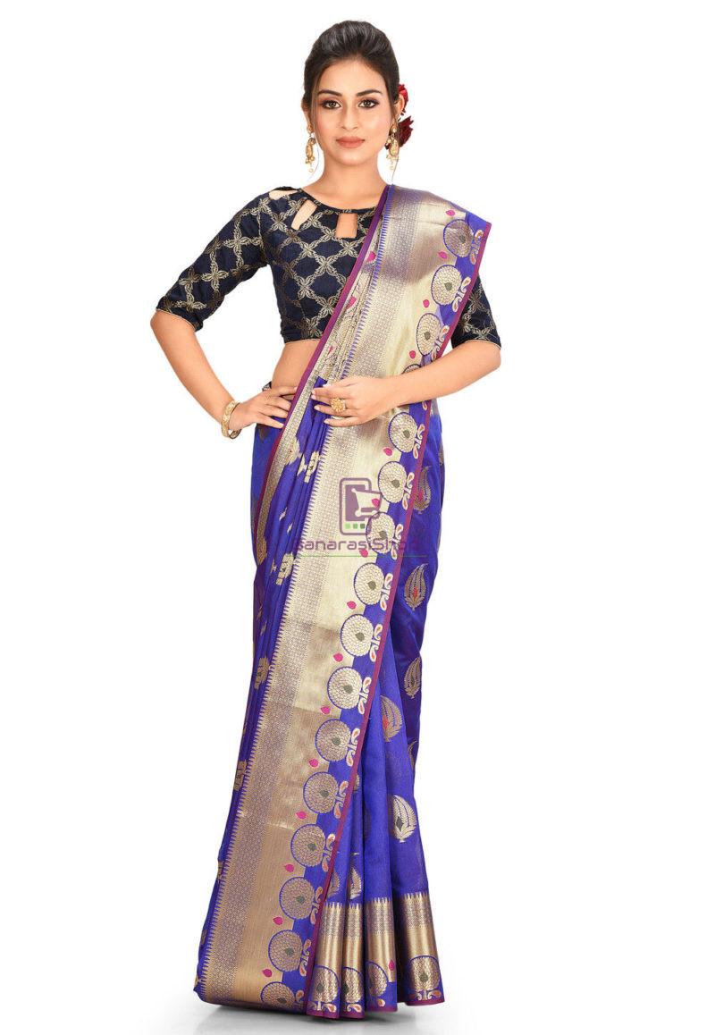 Woven Banarasi Cotton Silk Saree in Navy Blue 1