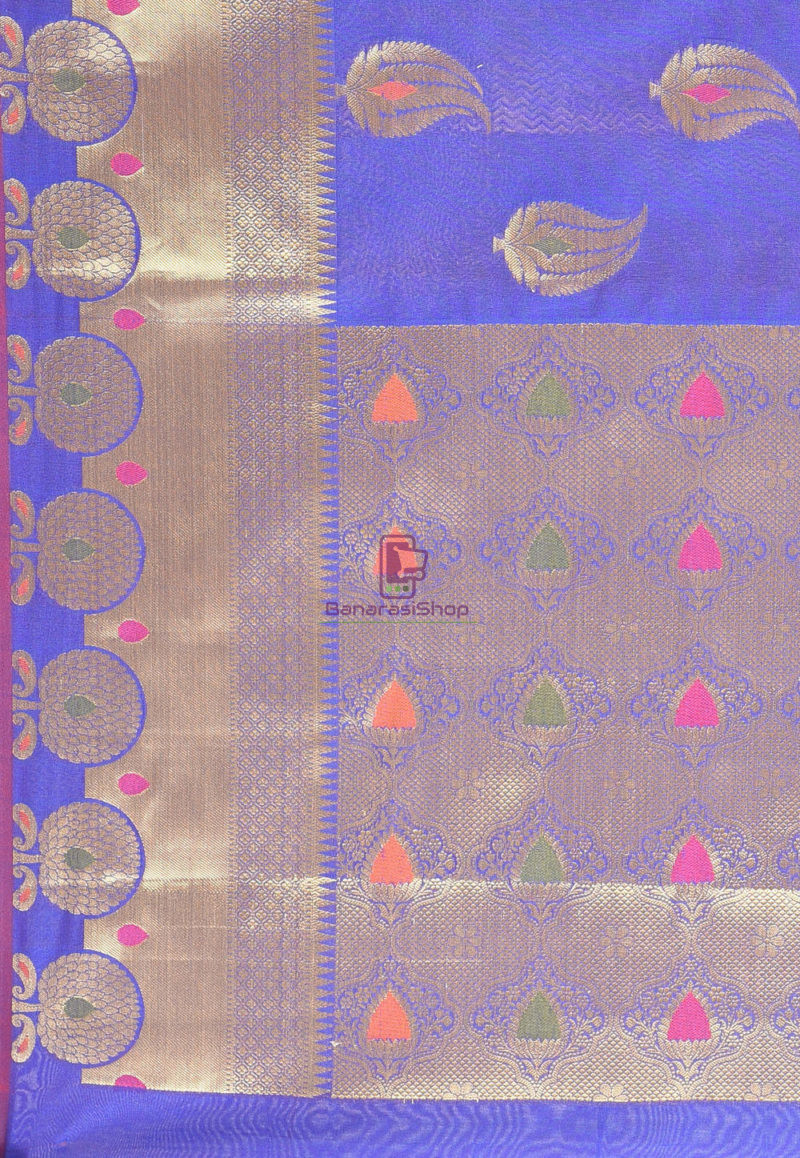 Woven Banarasi Cotton Silk Saree in Navy Blue 3