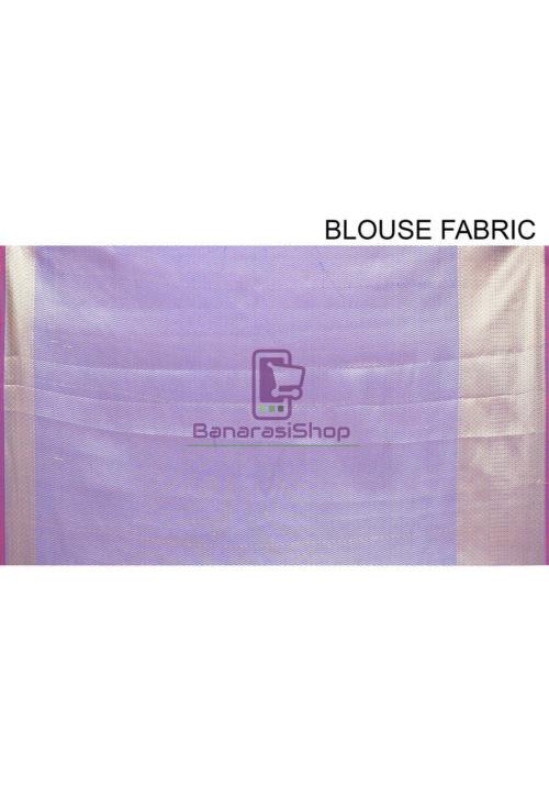 Woven Banarasi Cotton Silk Saree in Navy Blue 7