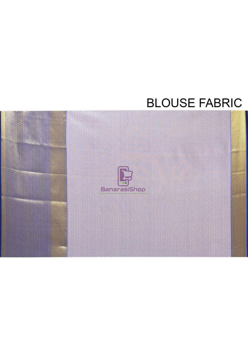 Woven Banarasi Cotton Silk Saree in Navy Blue 4