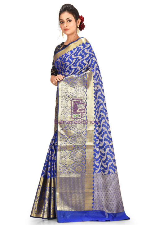 Woven Banarasi Cotton Silk Saree in Navy Blue 5