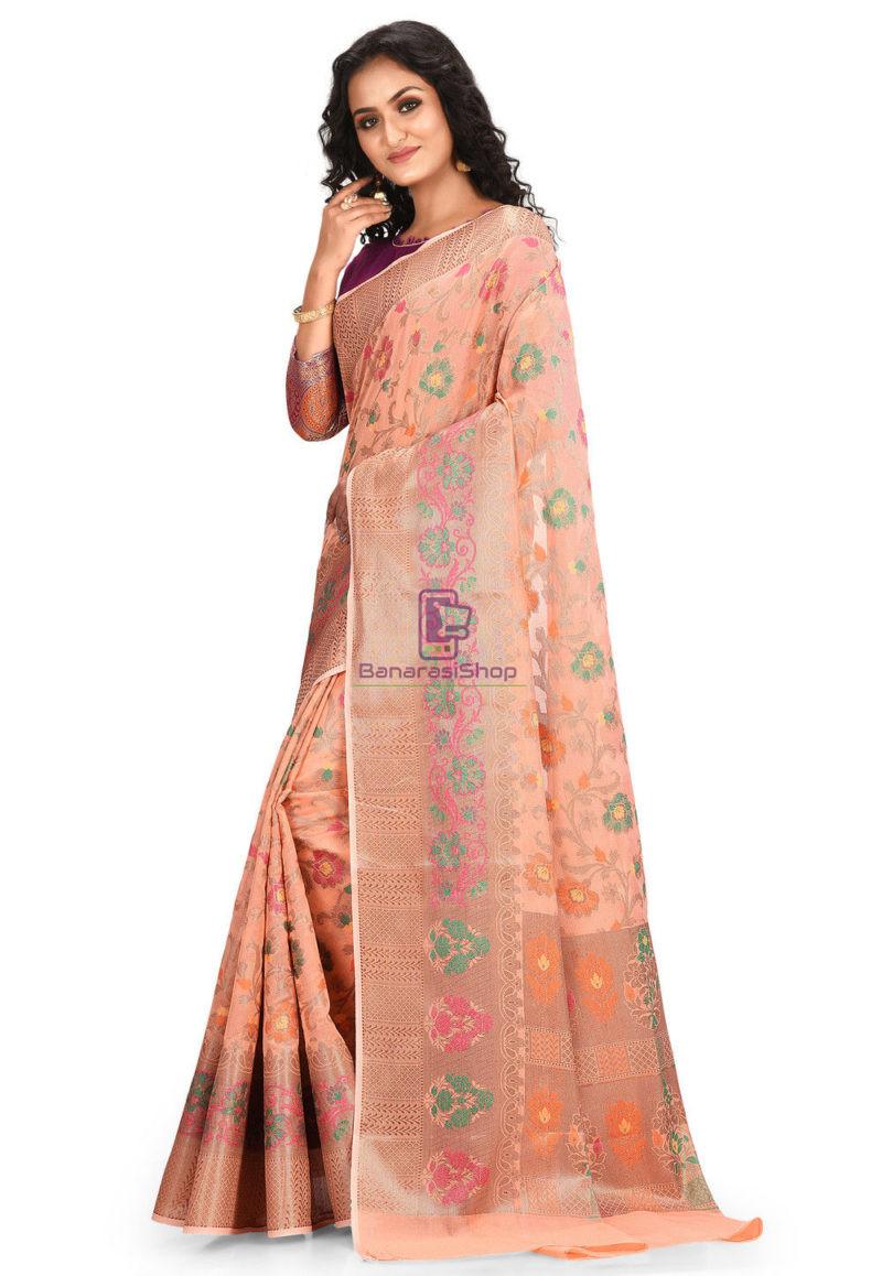 Woven Banarasi Cotton Silk Saree in Peach 2