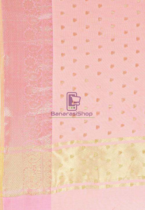 Woven Banarasi Cotton Silk Saree in Pink 6