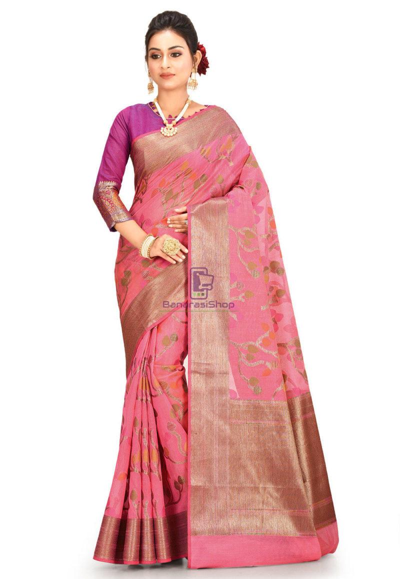 Woven Cotton Silk Saree in Pink 1