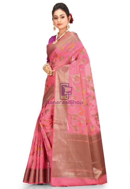 Woven Cotton Silk Saree in Pink 5