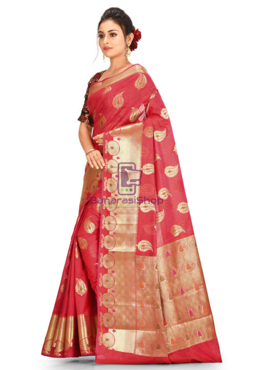 Woven Banarasi Cotton Silk Saree in Red 5