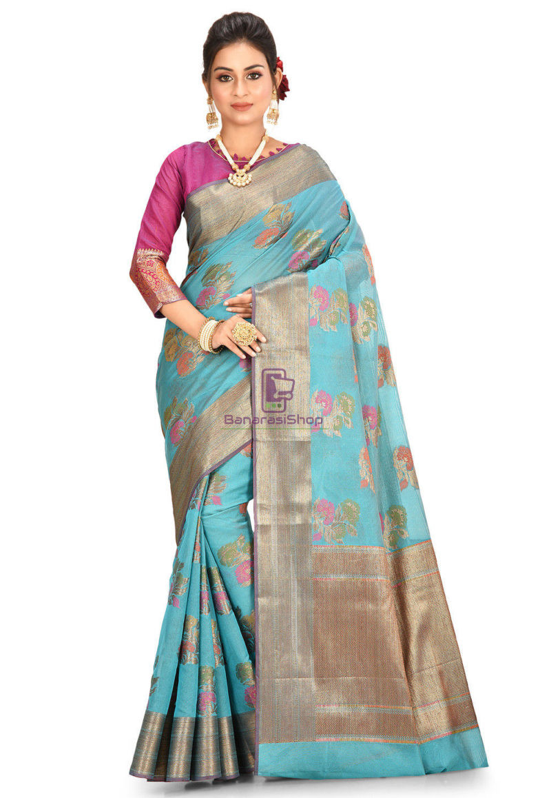 Woven Banarasi Cotton Silk Saree in Teal Blue 1