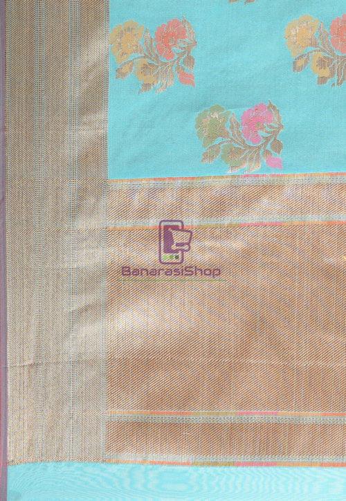 Woven Banarasi Cotton Silk Saree in Teal Blue 6