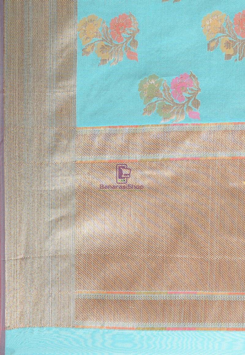 Woven Banarasi Cotton Silk Saree in Teal Blue 3