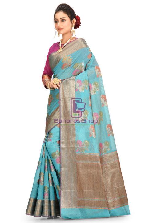 Woven Banarasi Cotton Silk Saree in Teal Blue 5