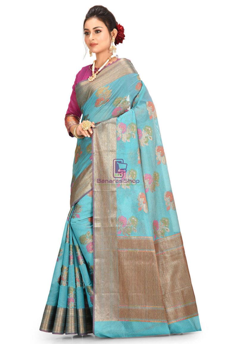 Woven Banarasi Cotton Silk Saree in Teal Blue 2