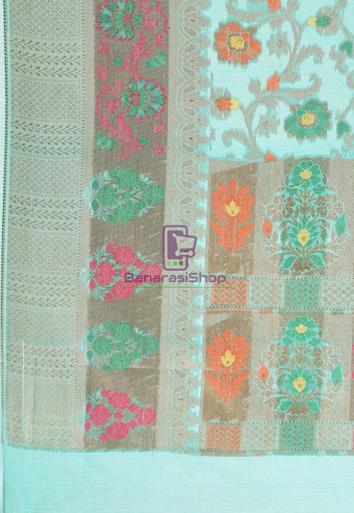 Woven Cotton Silk Saree in Teal Green 6