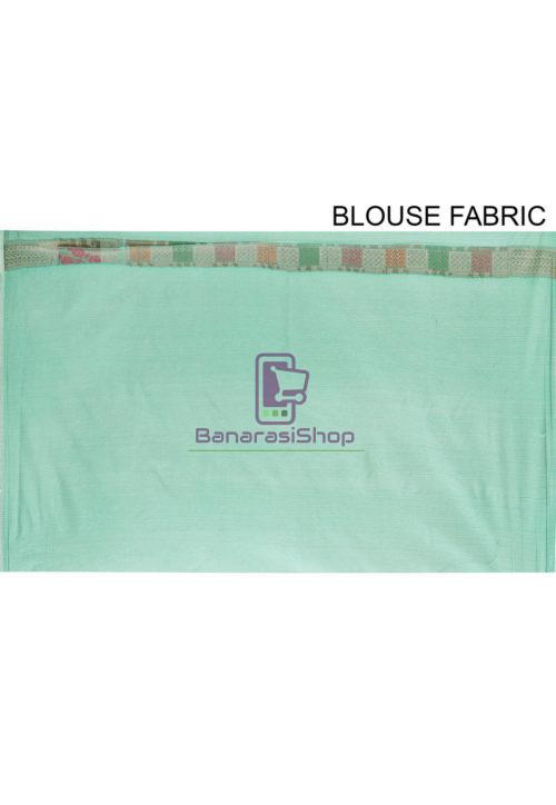 Woven Cotton Silk Saree in Teal Green 7