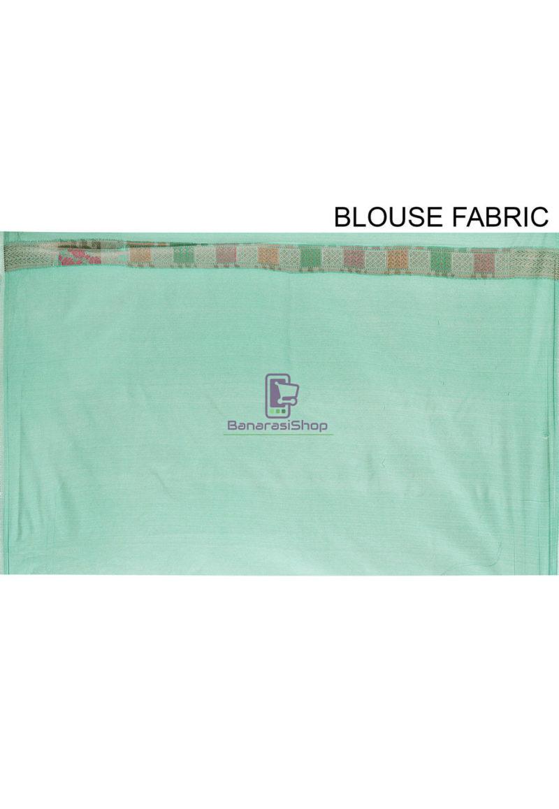 Woven Cotton Silk Saree in Teal Green 4