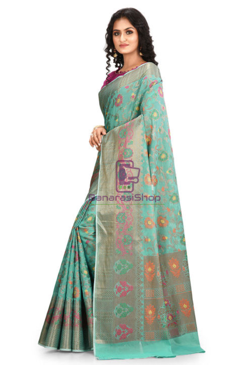 Woven Cotton Silk Saree in Teal Green 5