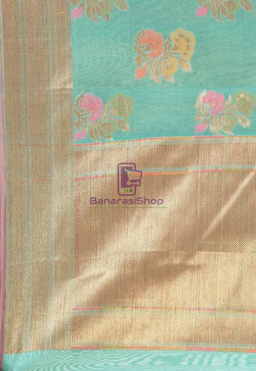 Woven Banarasi Cotton Silk Saree in Teal Green 6