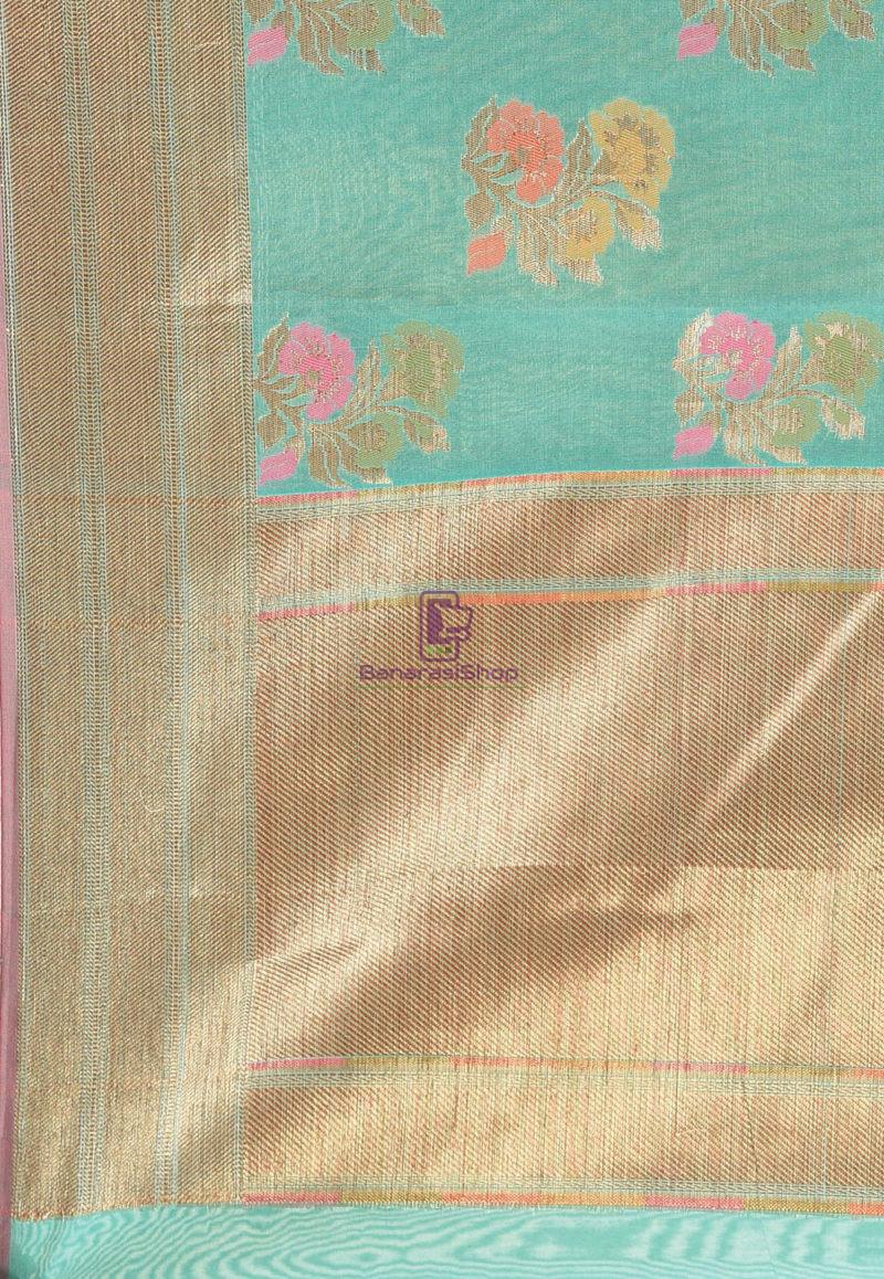 Woven Banarasi Cotton Silk Saree in Teal Green 3