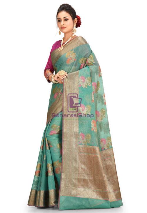 Woven Banarasi Cotton Silk Saree in Teal Green 5