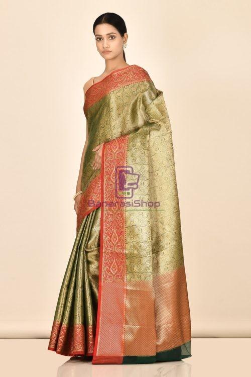 Banarasi Tissue Silk Saree with Running Blouse Fabric 5