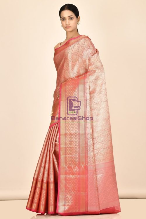 Banarasi Tissue Silk Saree with Running Blouse Fabric 5