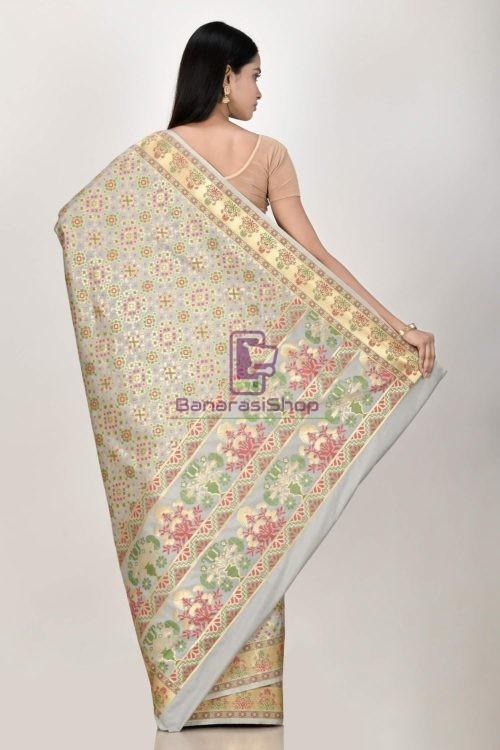 Woven Banarasi Semi Silk Minedar Saree 6