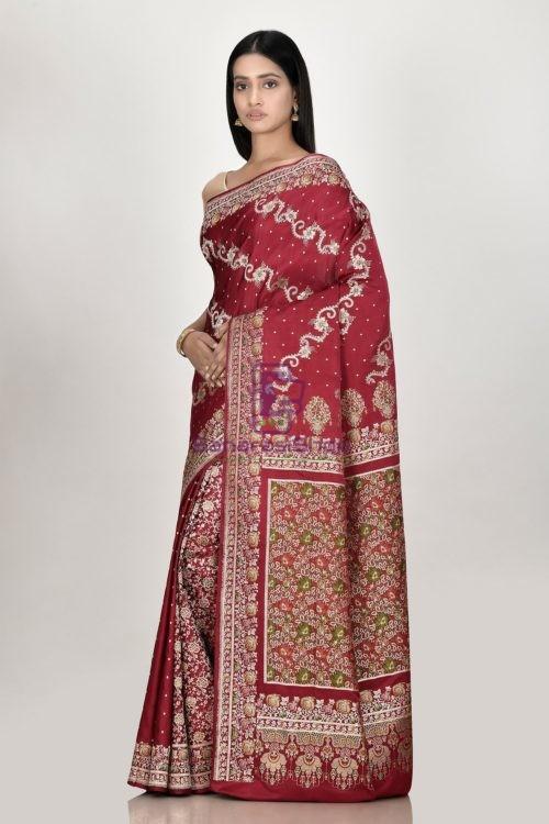 Banarasi Pure Katan Silk Aada Minedar Patli Pallu Wedding Handloom Saree 5