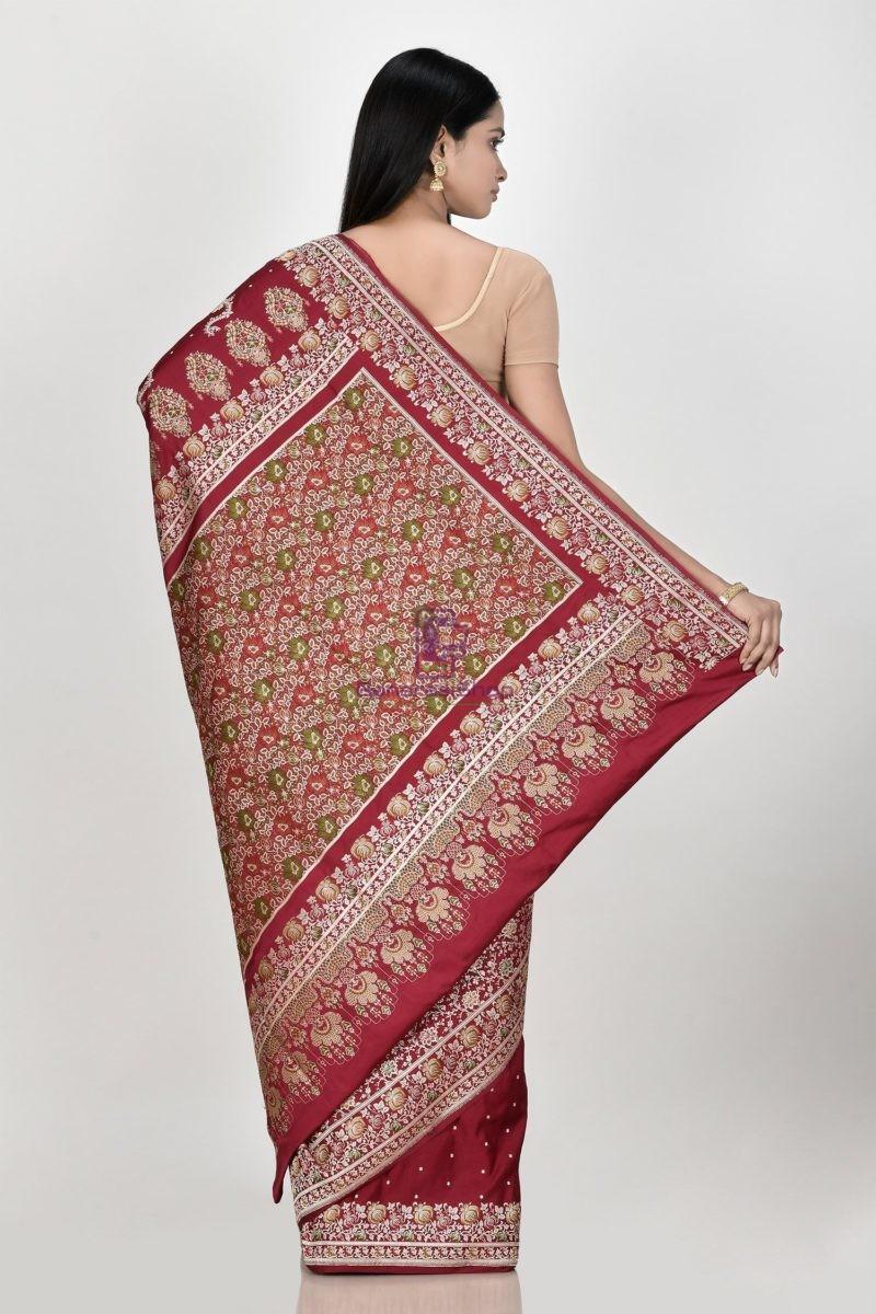 Banarasi Pure Katan Silk Aada Minedar Patli Pallu Wedding Handloom Saree 3