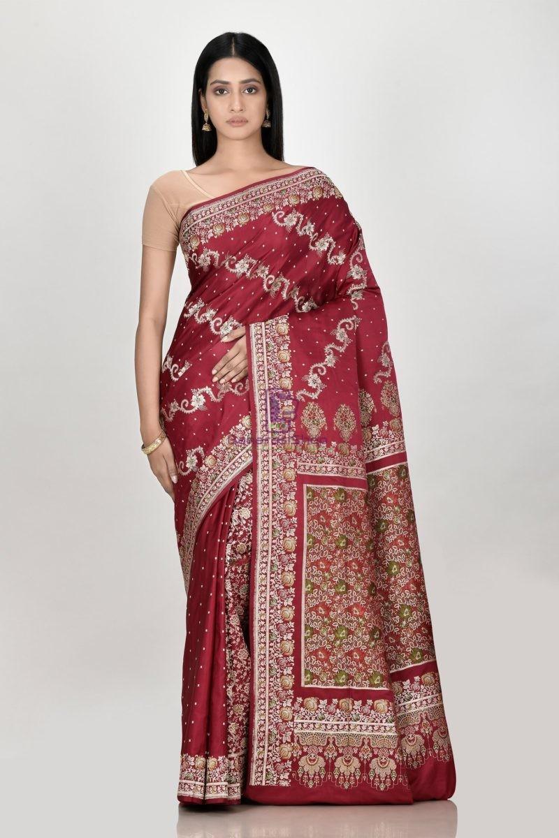 Banarasi Pure Katan Silk Aada Minedar Patli Pallu Wedding Handloom Saree 1