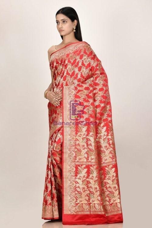 Banarasi Pure Katan Silk Jangla Minedar Wedding Handloom Saree 5