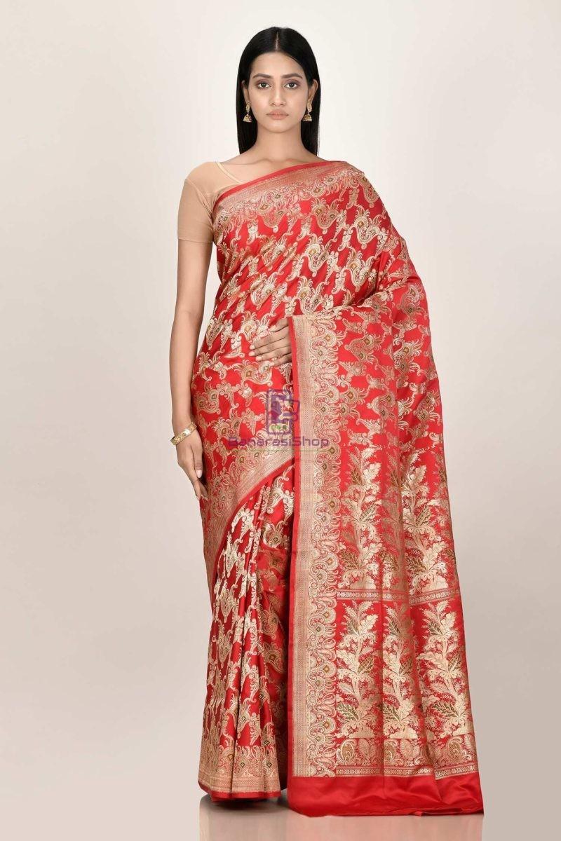 Banarasi Pure Katan Silk Jangla Minedar Wedding Handloom Saree 1