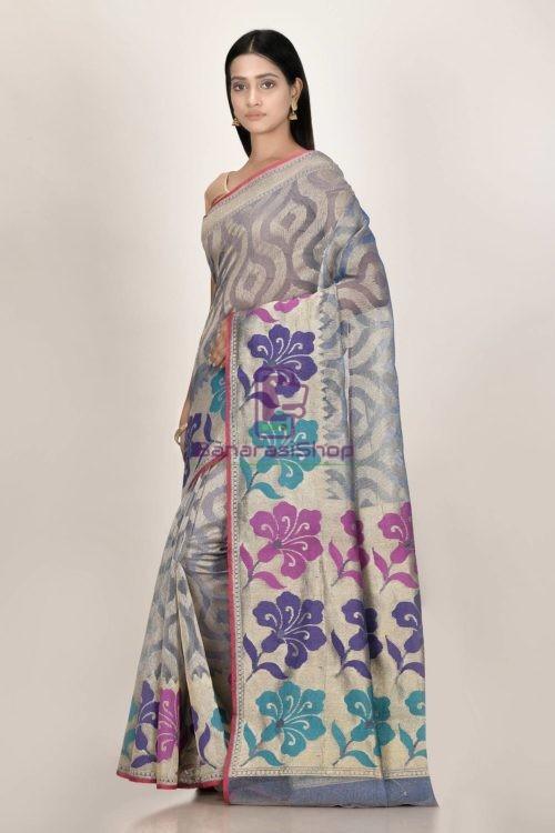 Banarasi Pure Net Silk Handloom Saree in Grey 5