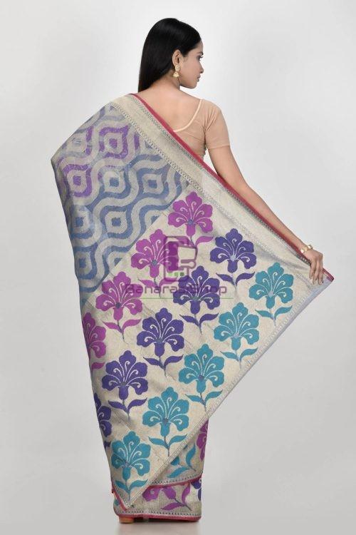 Banarasi Pure Net Silk Handloom Saree in Grey 6
