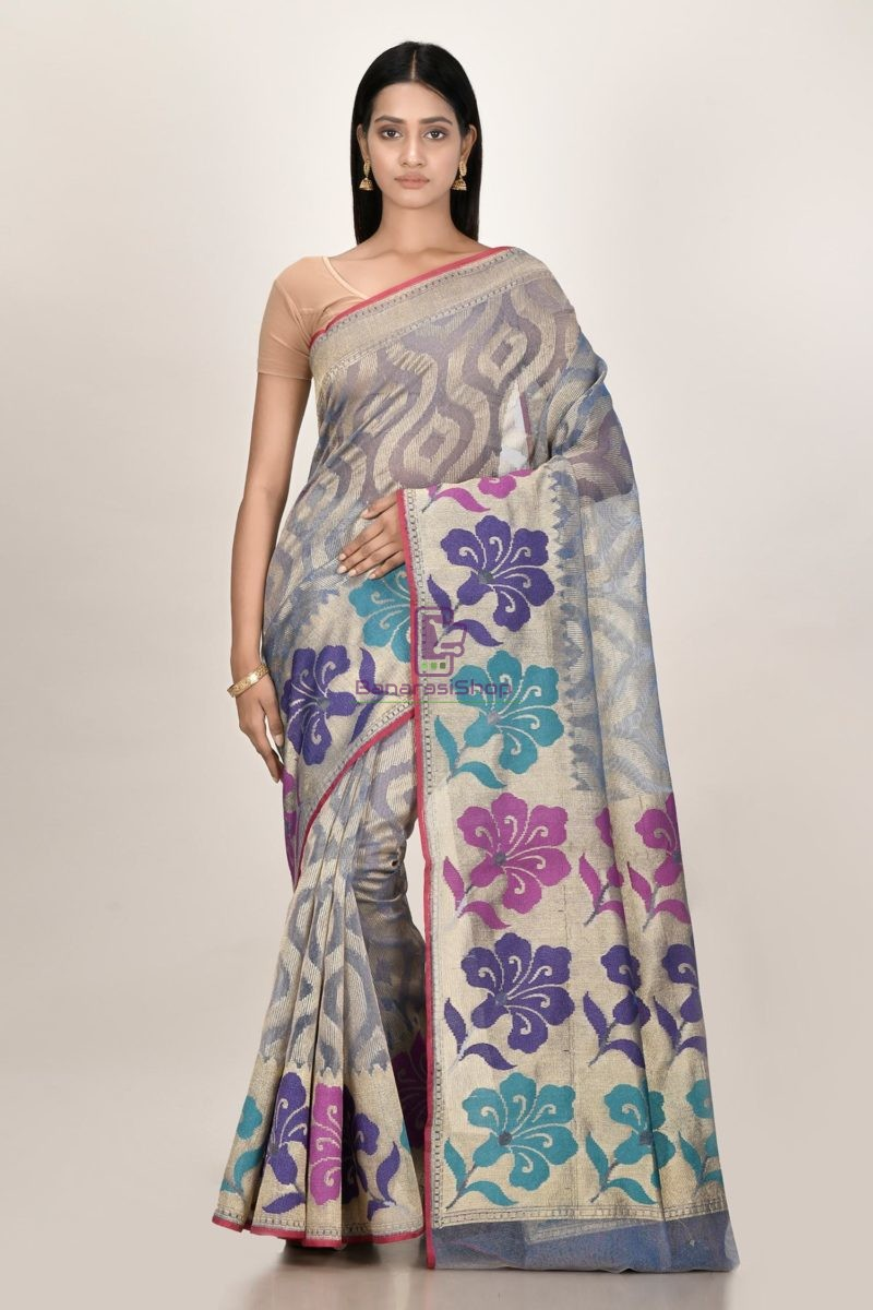 Banarasi Pure Net Silk Handloom Saree in Grey 1