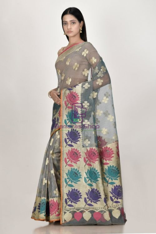 Banarasi Pure Net Silk Handloom Saree in Pastel 5