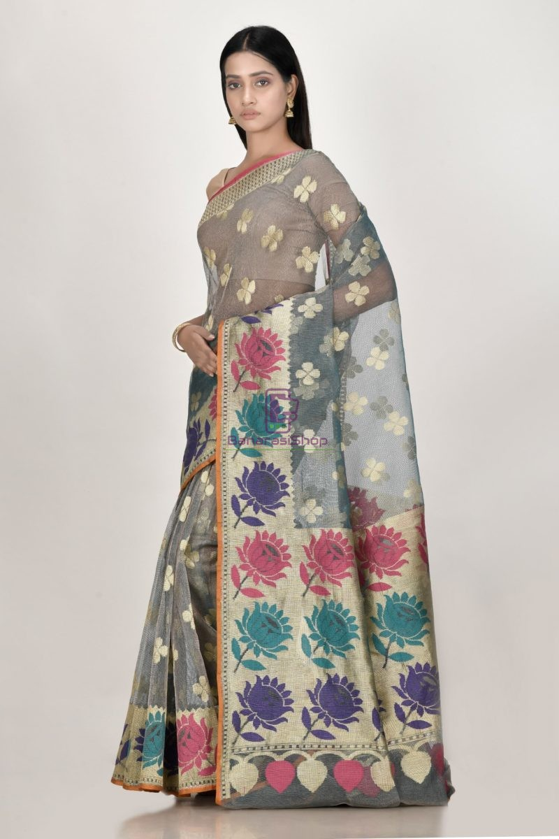 Banarasi Pure Net Silk Handloom Saree in Pastel 2