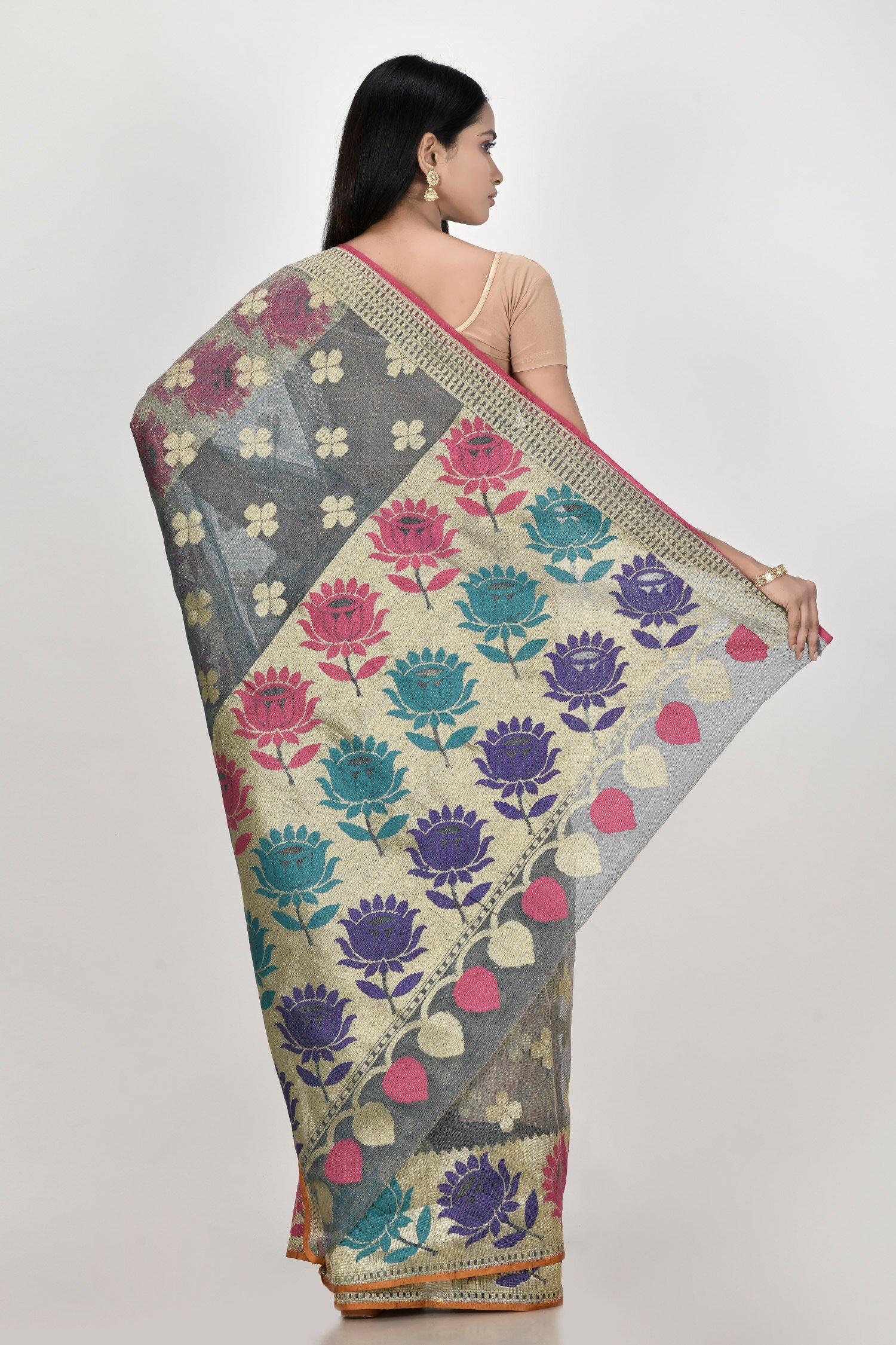 Banarasi Pure Net Silk Handloom Saree in Pastel 3
