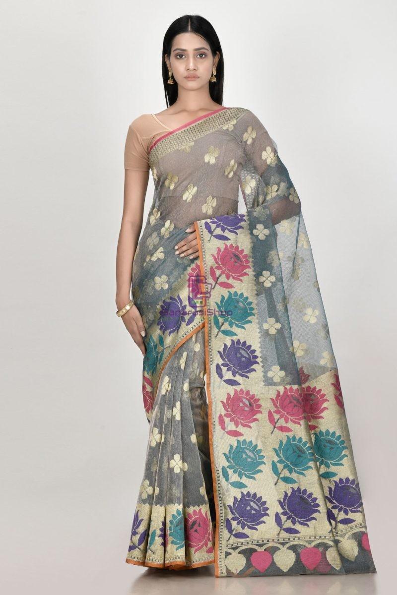 Banarasi Pure Net Silk Handloom Saree in Pastel 1