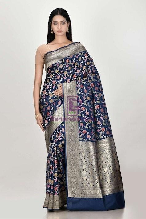 Woven Banarasi Semi Silk Minedar Saree 1