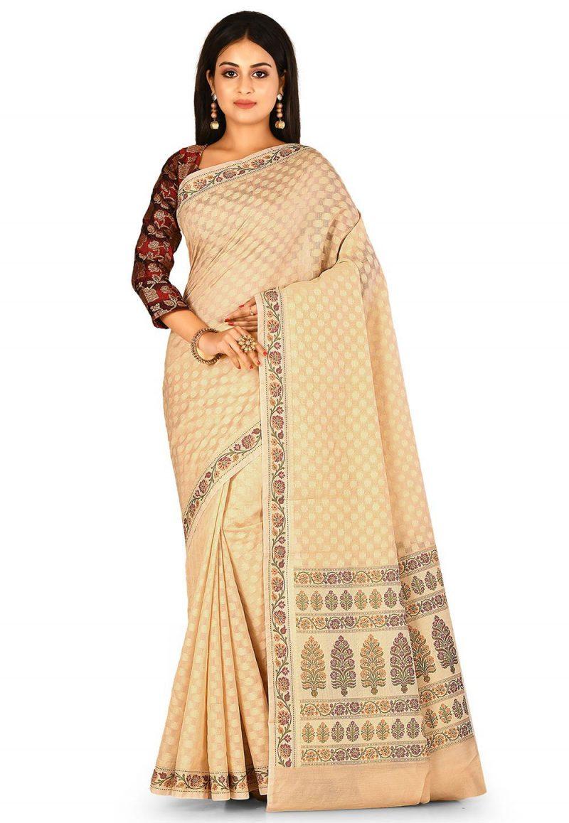 Woven Banarasi Cotton Silk Saree in Beige 1