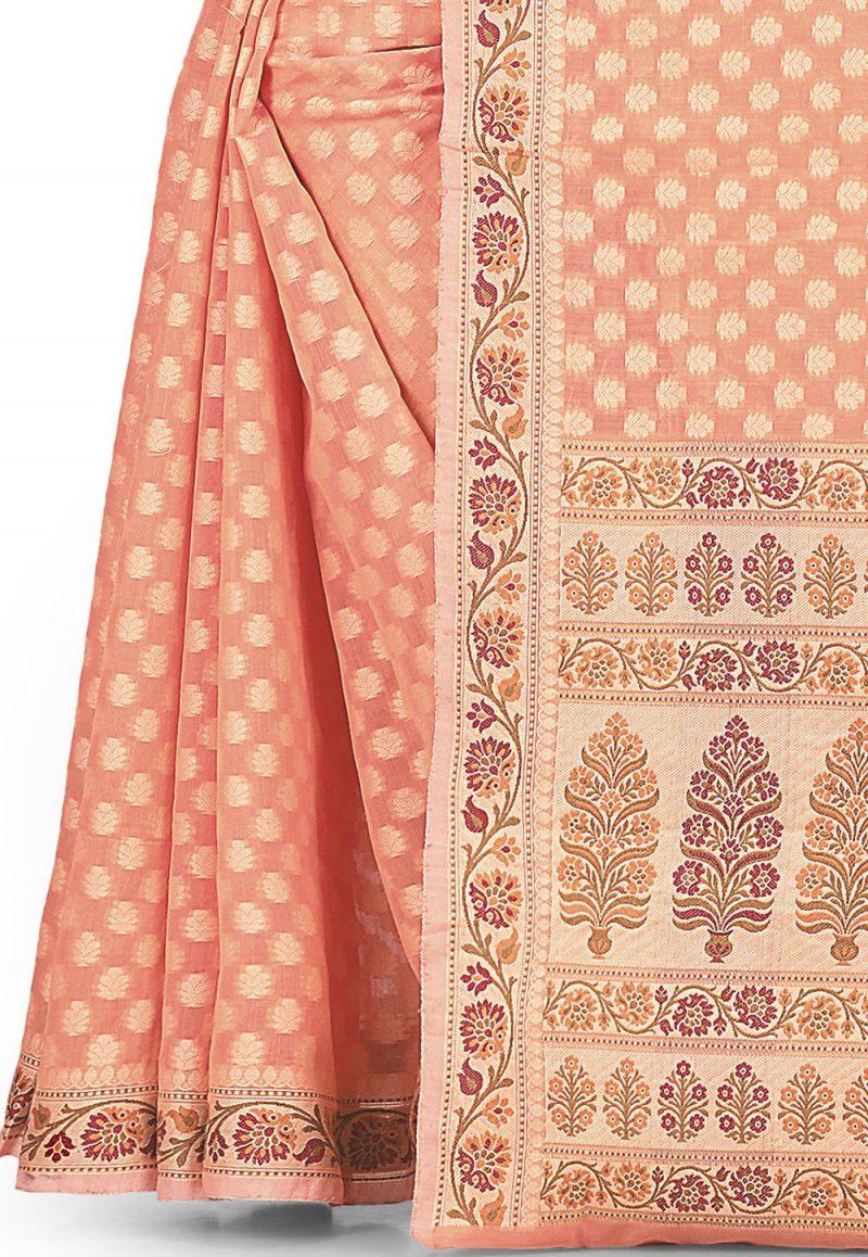 Woven Banarasi Cotton Silk Saree in Peach 3