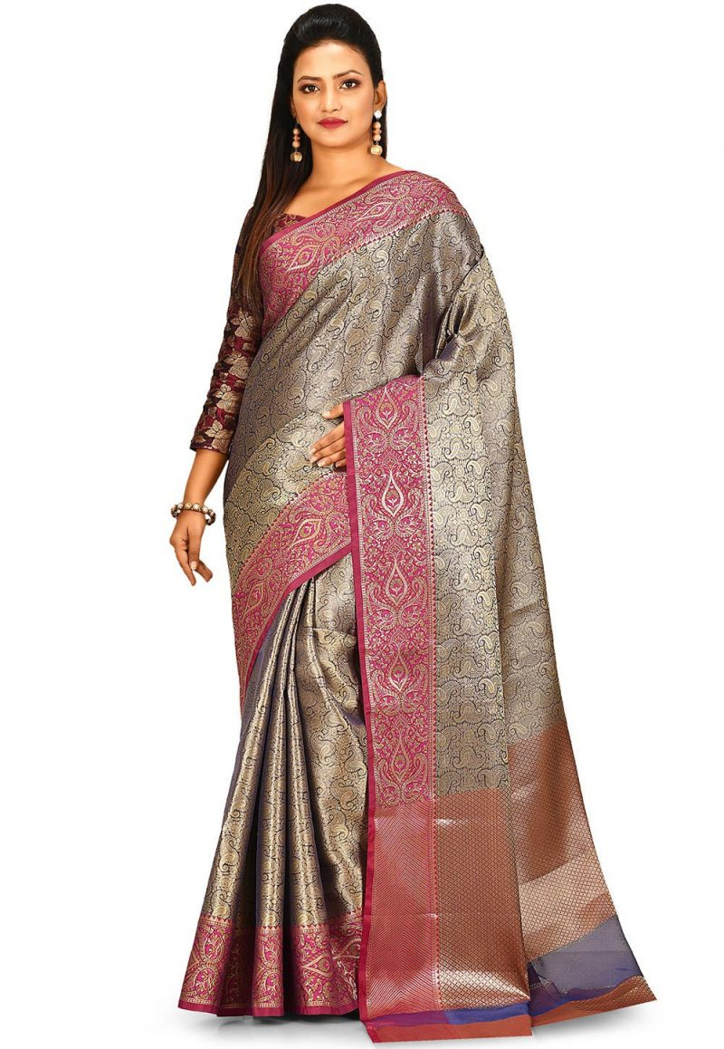 Woven Banarasi Tissue Tanchoi Saree in Golden and Blue 1