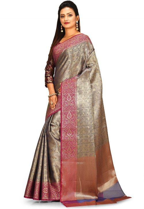 Woven Banarasi Tissue Tanchoi Saree in Golden and Blue 5