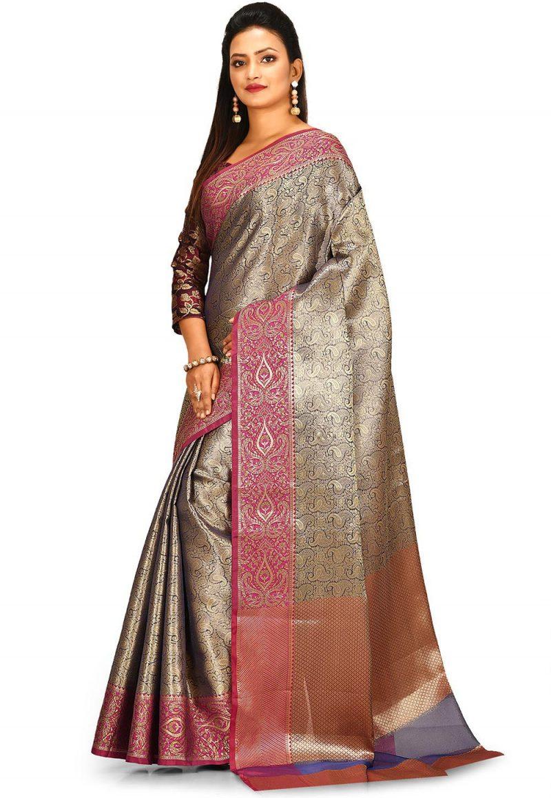 Woven Banarasi Tissue Tanchoi Saree in Golden and Blue 2
