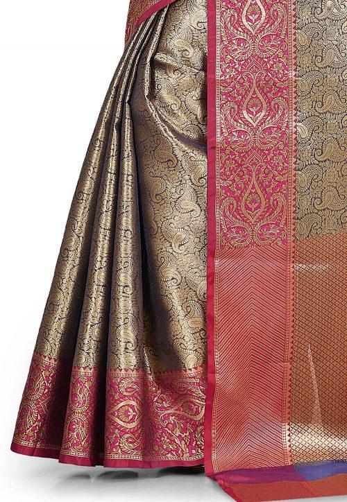 Woven Banarasi Tissue Tanchoi Saree in Golden and Blue 6