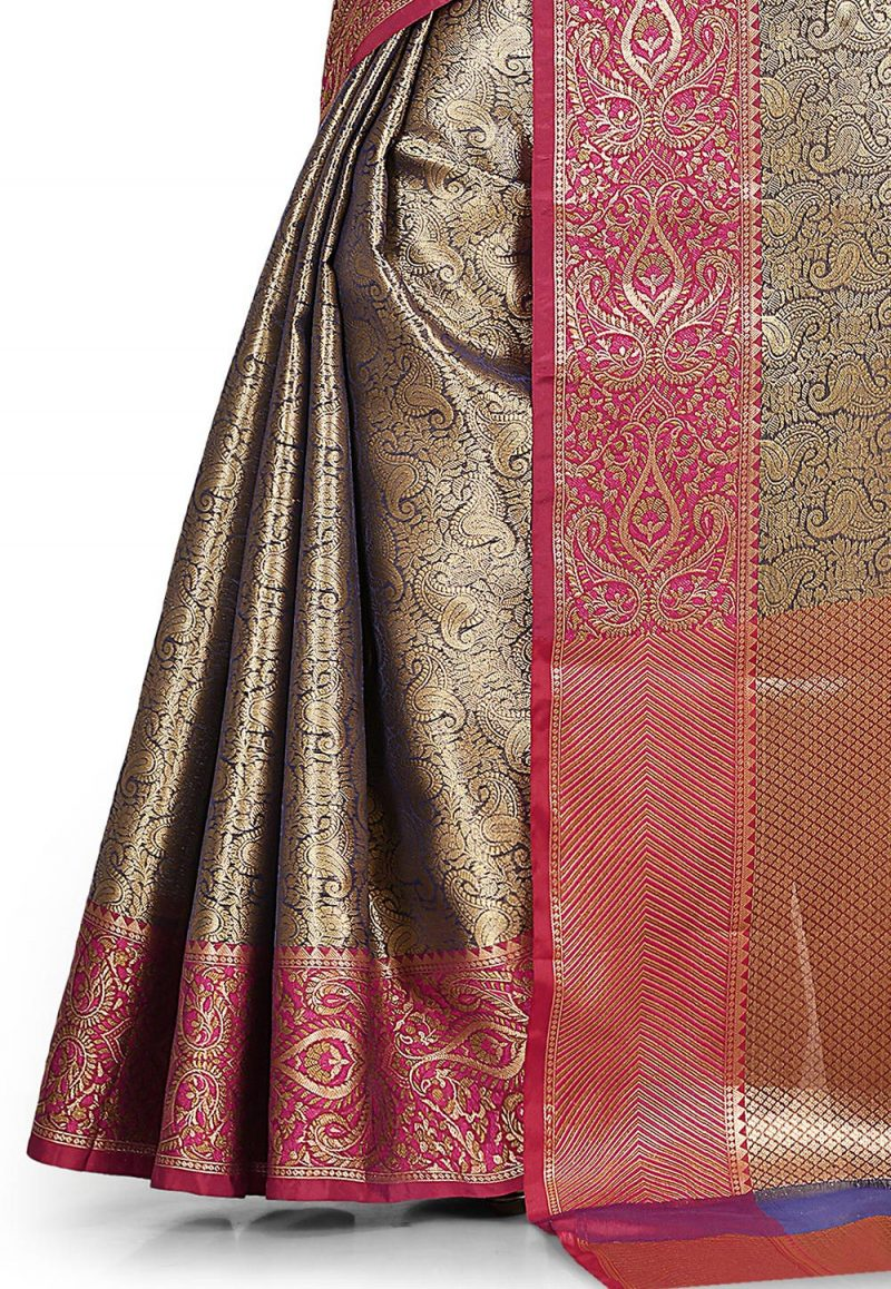Woven Banarasi Tissue Tanchoi Saree in Golden and Blue 3